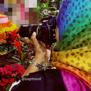 Me in Action with the camera, while Imran tried to click a Butterfly on my Hijab...which had done a quick getaway?