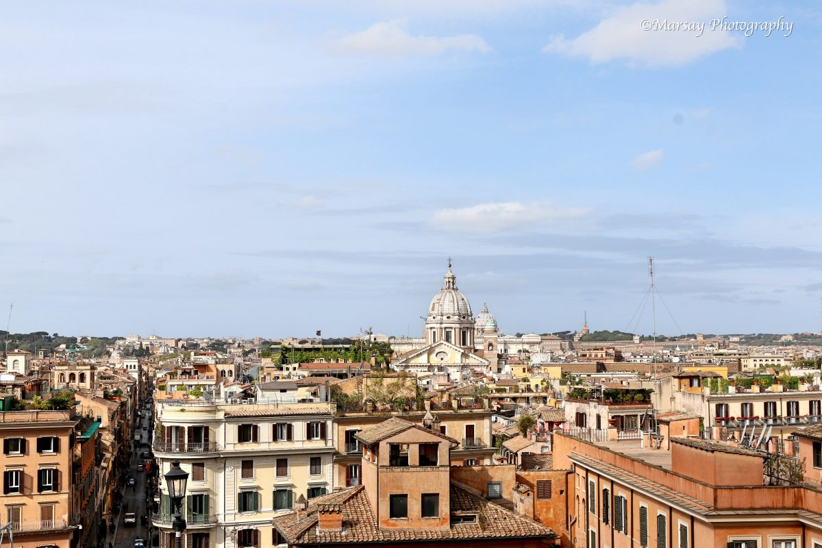 View of Rome from the Top of the Spanish Steps.