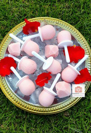 Rose and Strawberry Milkshake Ice Lollies